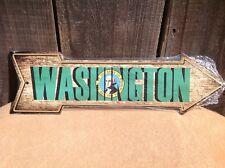 "Washington State Flag This Way To Arrow Sign Novelty Metal 17"" x 5"""