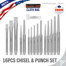 Mecánica Industrial 16pc Punch & Cincel Set Pin Cónico centro frío Bolsa Rollo