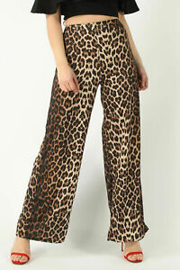 Ex Store Womens Leopard Snake Print Pocket Wide Leg Elasticated Waist Trouser