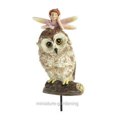 Fairy and Owl with Pick for Miniature Garden, Fairy Garden