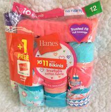 Girls Hanes 11 Pack Tagless Bikini Underwear Multicolor Size 12
