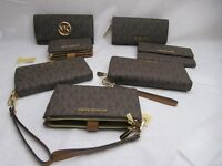 MICHAEL KORS Brown Wallet Wristlets Phone Case Bifold Double Zip Choose Style