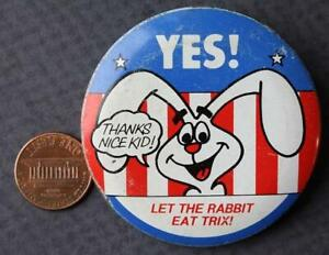 1970-80s Era Trix Cereal Vote Yes for the Rabbit pin-Let the Rabbit Eat Trix!