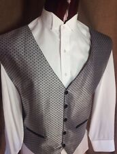 Shiny Silver Grey Black Basketweave Tuxedo Vest One Size Fits All