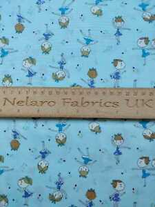Ballerina and Musical Notes blue fabric by John Louden - CLEARANCE!