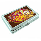 Vintage Poster D243 Silver Metal Cigarette Case Wallet Beer Now Cheaper Than Gas