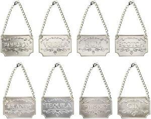 Gorgeous European Liquor Decanter Tags Labels Set 8 polished Silver Bottle Label