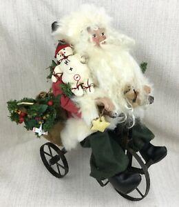 Vintage Decorazioni di Natale Fatto a Mano Babbo Natale Figure Triciclo