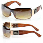 New DG Shield Womens Wrap One Lens Designer Fashion Brown Gold Sunglasses Shades