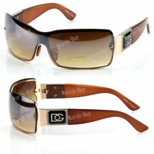 New DG Shield Womens Wrap One Lens Designer Fashion Brown Gold Sunglasses Shades