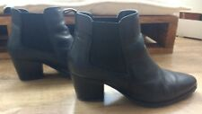 Marks & Spencer Black Real Leather Ankle Boots Low Heel Elastic Size 6UK