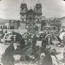 Vtg Magic Lantern Glass Slide Photo Keystone Indian Market Church Cuzco Peru