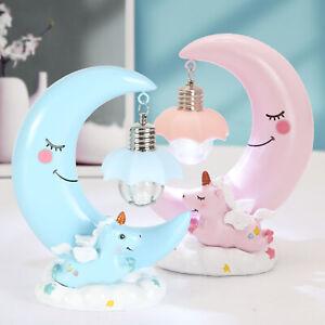 Resin Unicorn Moon LED Night Light Baby Kids Sleeping Bedside Lamp Decor Gift UK