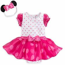 NWT DISNEY BABY MINNIE MOUSE PINK COSTUME BODYSUIT SET EARS HEADBAND SIZE 9-12 M