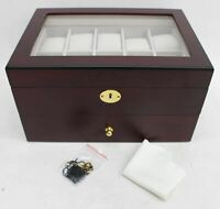 20-Slot Cherry Wood Watch Box Display Case Glass Top Jewellery Organiser NEW