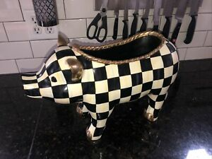 Mackenzie Childs Courtly Check Large Pig Authentic Resin pot