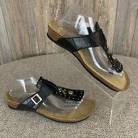 Euro Wellness Balance Sandals Women's Size 9 Black*Beige Cork Molded Insole