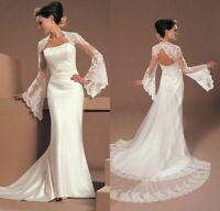 White Ivory Lace Wedding Jacket Cape Flare Long Sleeve Bridal Wrap Tulle Custom