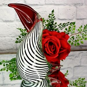 Elegant Toucan Art Glass Figurine Sculpture White Stripped Red Bird Pelican