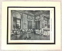 1903 Antique Print Louis XVI Music Room Interior Chateau de Fontainebleau France
