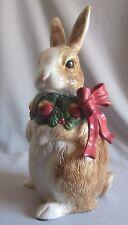 "Standing Bunny Rabbit Figurine Christmas Fitz & Floyd Woodland Santa Pattern 12"""