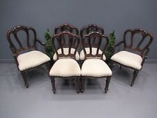 More details for set of 6 victorian design balloon back dining chairs mahogany dining chairs