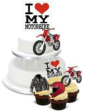 NOVELTY Red Motorbike Mix PACK 2 Large 12 Cupcake STAND UP Cake Toppers Biker