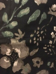 Threshold Fabric Shower Curtain Gray Blue Floral 100% Cotton Pre-Owned FREE SHIP