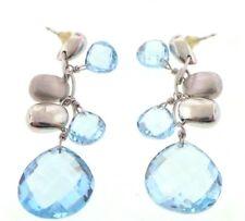 Beautiful Sparkling Aquamarine & Solid 14K White Gold Dangle Earrings