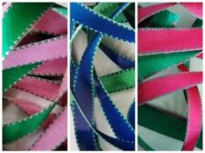 Reversible Double Faced Satin Saddle Stitch Ribbon ~10mm ~Green Rose Cerise Blue