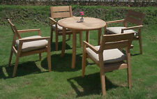 "5 PC OUTDOOR DINING TEAK SET - 36"" ROUND TABLE & 4 STACKING ARM CHAIRS CELLORE"