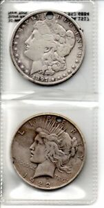 1897 & 1922 SILVER DOLLARS ( WHOLE DRILLED THRU COIN )