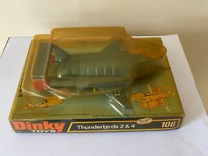 Dinky Toys Thunderbirds 2 & 4 (106) in original, aged & worn bubble pack