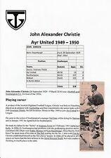 JOHN CHRISTIE AYR UNITED 1949-1950 RARE ORIGINAL HAND SIGNED NEWSPAPER CUTTING