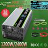 1200W 2400W Pure Sine Wave Power Inverter 12V To 240V LCD Car Converter AU Plug