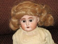 "19"" bisque jointed doll--glass sleep brown eyes-horseshoe mark on neck"