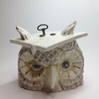 Vintage Mid Century Ceramic Arnels Owl Painted Music Box Figurine hat graduation