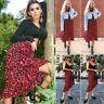 Lady Women Midi Skirt Leopard Skirt Casual High Waist Ruffle Pleated Wrap Dress