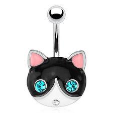 Acero Quirúrgico Piercing, vientre con cara gato negro y ojos color esmeralda adornado