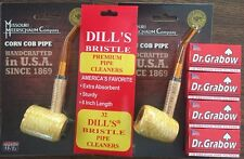 BENT Missouri Meerschaum Corn Cob Pipe & Dills Bristle Cleaners & Grabow Filter