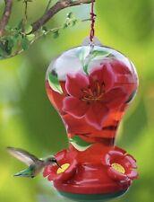 Garden Treasures Hummingbird Feeder Painted Glass Pink Floral & Ant Moat Hook