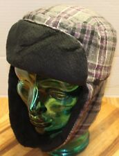 5baacbc11d7 ADULT REI TRAPPER AVIATOR HAT SIZE S M BLACK PURPLE GRAY PLAID