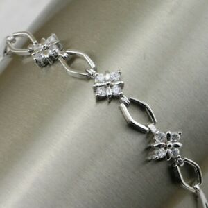 Little Cute White Flower CZ Gems Jewelry White Gold Filled Lady Bracelet B1060