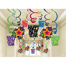 30 Happy New Year Party Jewel Tone Hanging Foil Swirl Decorations