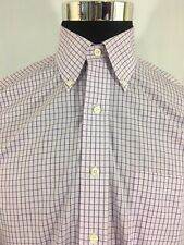 Brooks Brothers 346 Men's 15-2/3 Plaid Purple Non Iron LS Original Polo Shirt