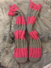 Victoria Secret PINK Knit Slippers Mukluks Pink Gray Striped Size Medium 7-8