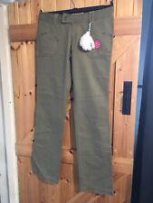 "Billabong The Slim Low Rose Skinny Leg Trousers Khaki Green Waist 32"" L34"""