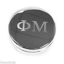 Phi Mu Round Metal Letter Pin Box