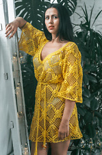 Tunique ajourée jaune tricotée main au crochet T38/40 coton robe chemisier dress