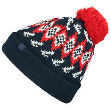 O'NEILL MENS BEANIE.REISSUE BLUE RED KNITTED BOBBLE POMPOM SKI HAT 7W 4118 5056